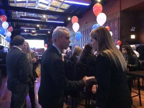 Mayor Rahm Emanuel greets fans at Illinois Secretary of State Jesse White's election night party Tuesday at John Barleycorn bar.