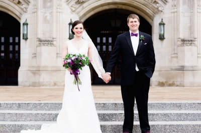 Joyce and Seubold pose outside Northwestern University's Deering Library where the two became friends. Flower arrangements by Pollen Floral Design. Photo by Cassandra Eldridge Photography.