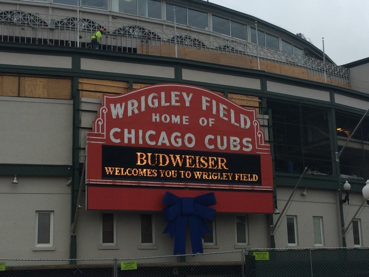 Work being done on the facade of Wrigley Field near the Marquee Joe Musso/Medil Reports
